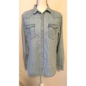 Levi's denim button down collared shirt size med